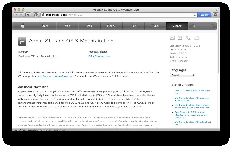Apple os x: install x window system xquartz for ssh x11 forwarding.